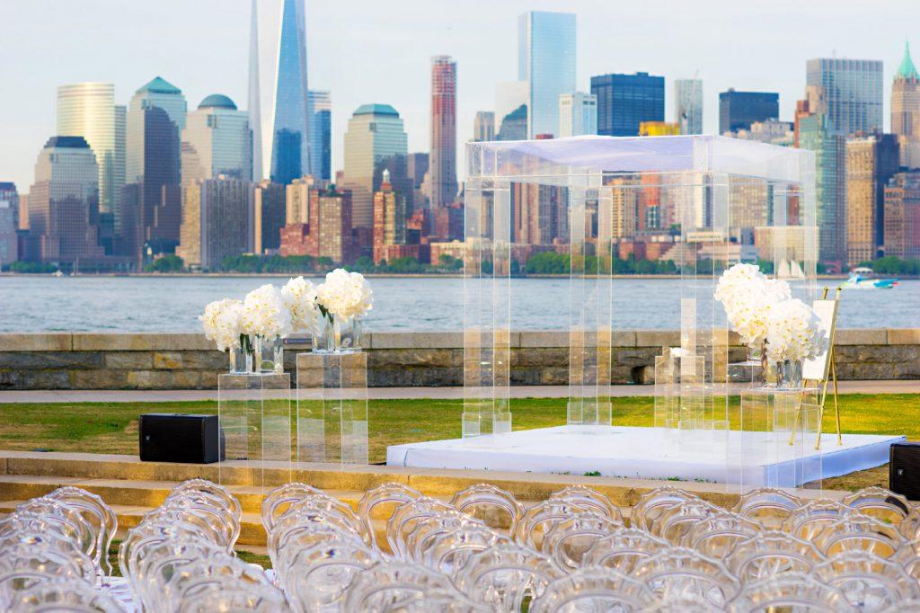Evelyn Hill Ellis Island wedding NYC backdrop