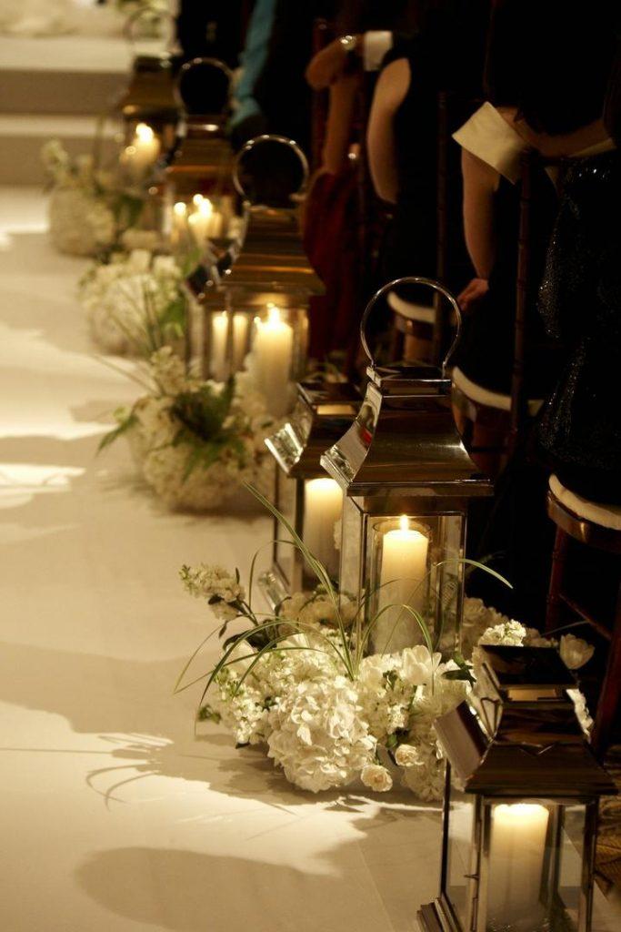 Church wedding candle decor