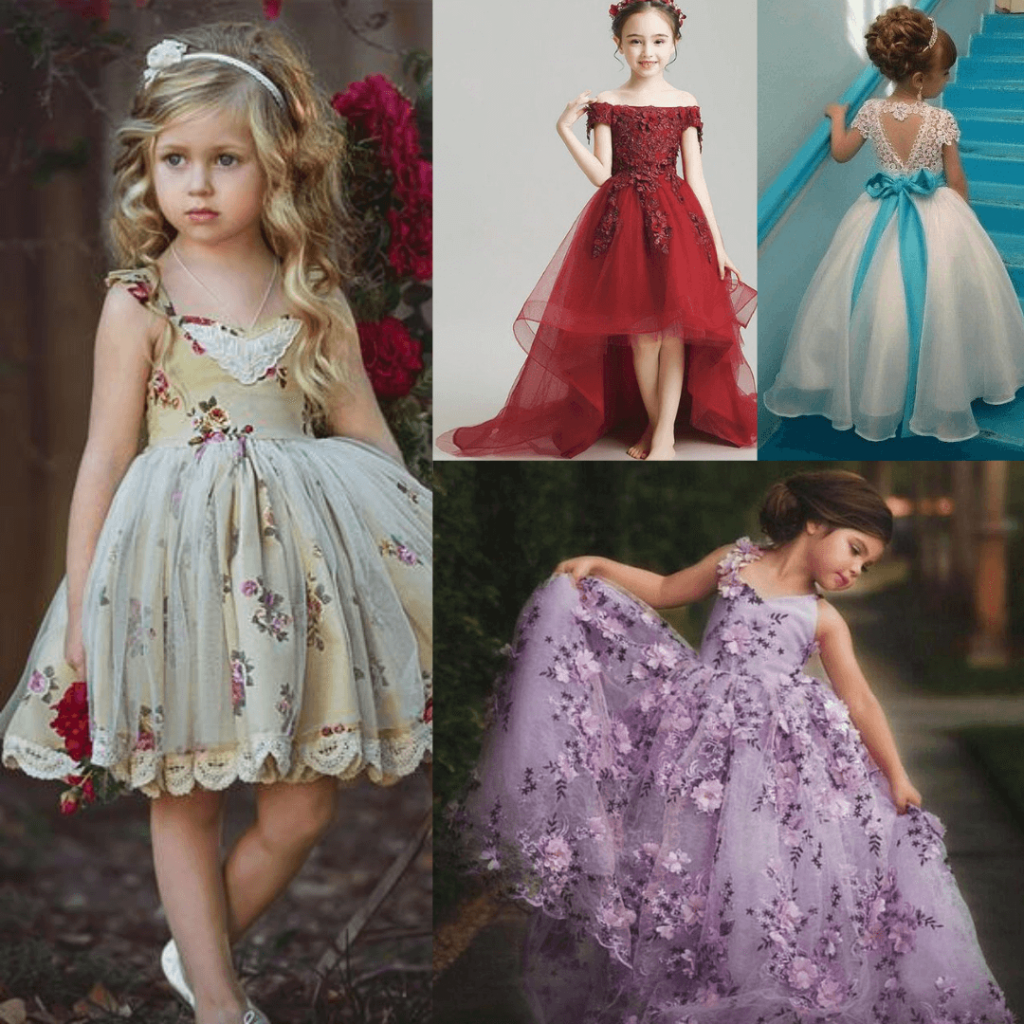 Flower girl dresses floral or with color accent