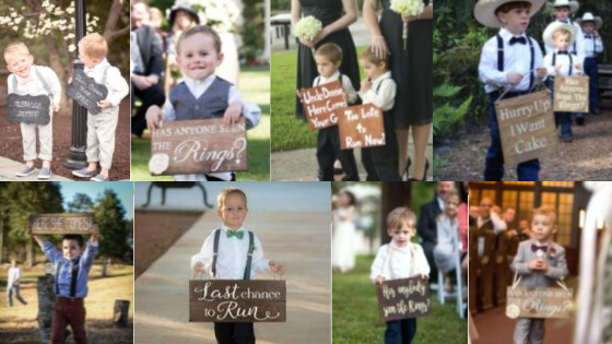 Look at the adorable signs carried by  handsome little dudes