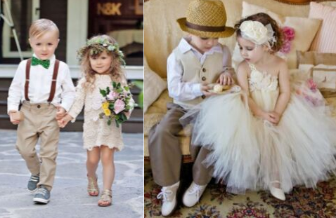 Cute toddler flower girl and ring boy perfect for rustic wedding