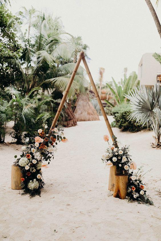 wooden ceremony backdrop