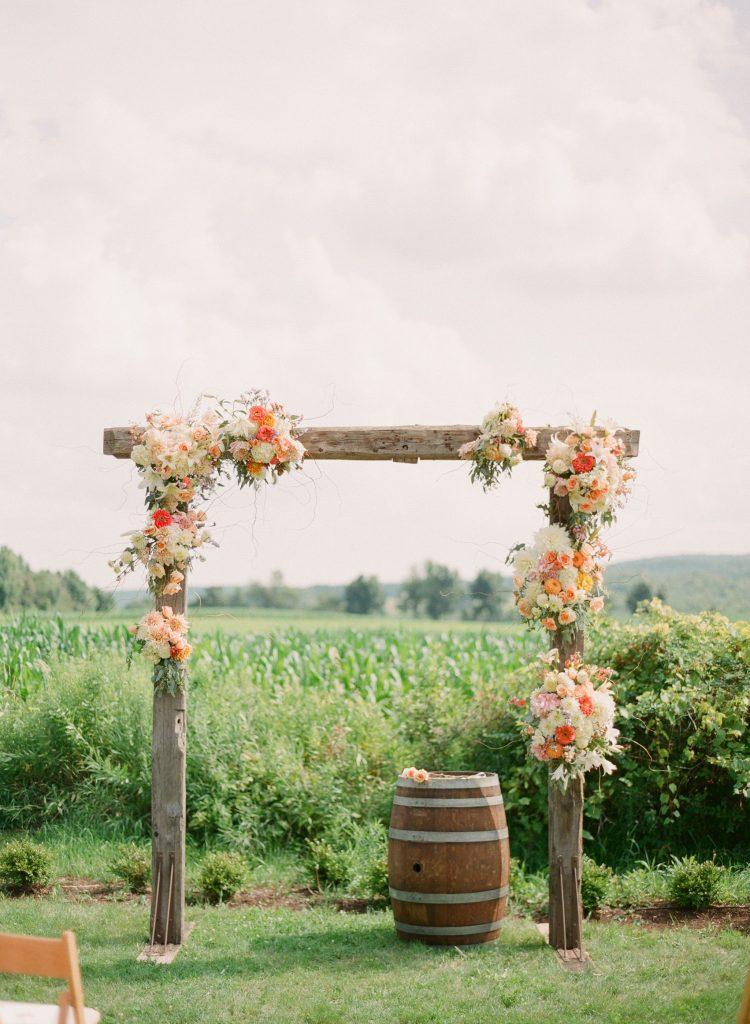 Rustic wedding wooden arch