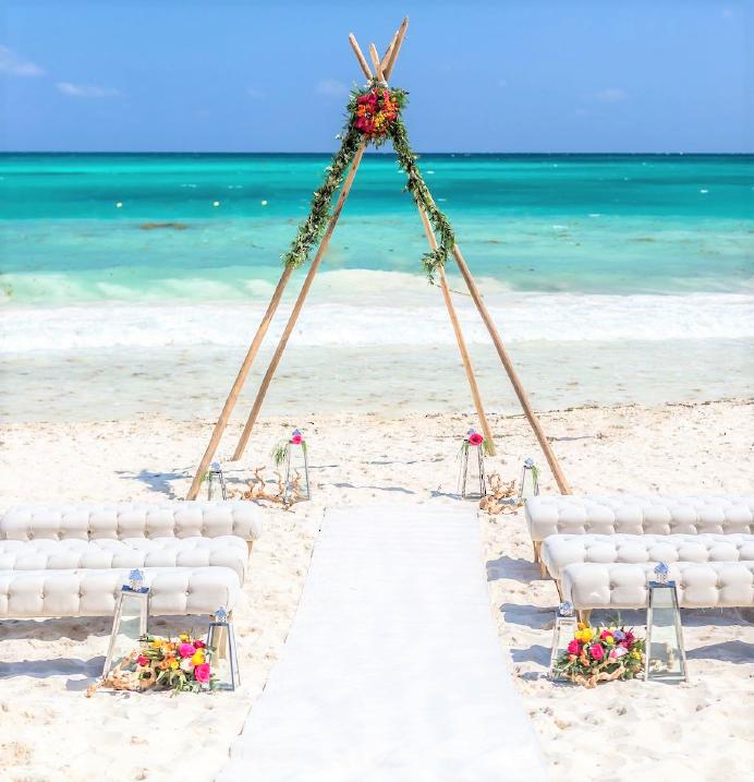 beach ceremony bohemian teepee wedding