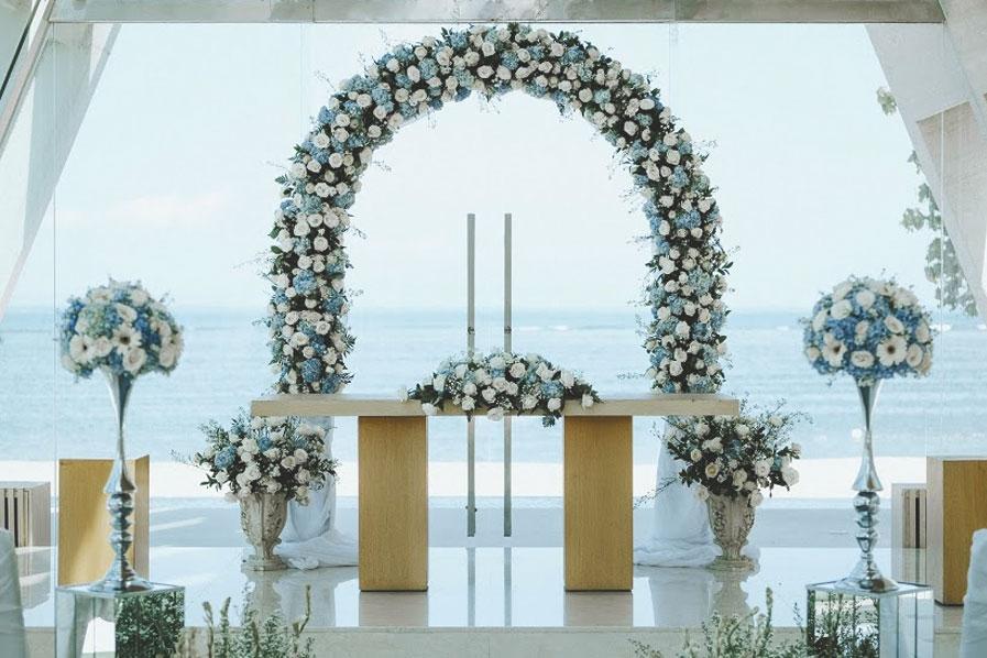 blue wedding arch chapel in conrad hotel bali