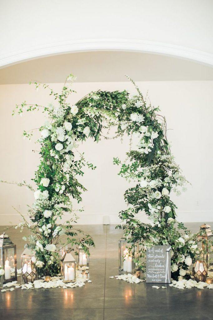 Green wedding ceremony arch