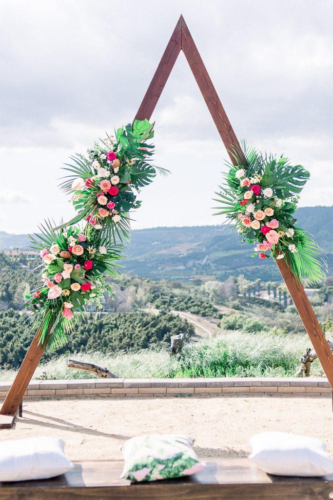 emerald peak temecula wedding ceremony arch
