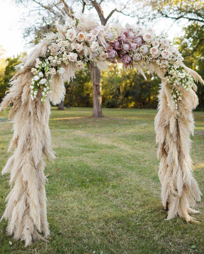 pampas grass wedding arch