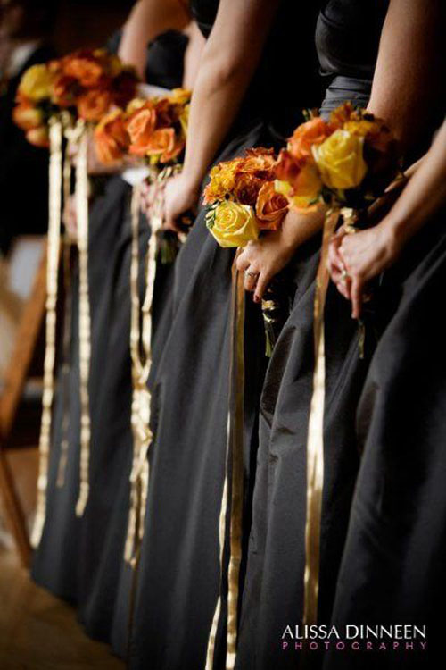 black dresses and fall flowers