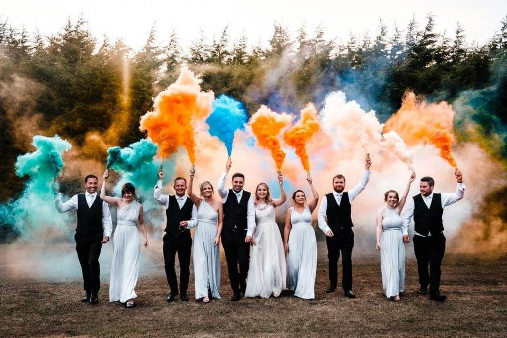Rainbow smoke bombs wedding photography