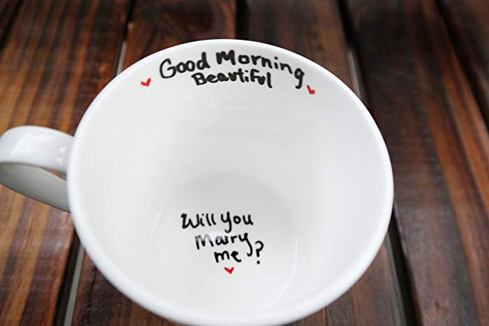 Will you marry me in her morning coffee cup