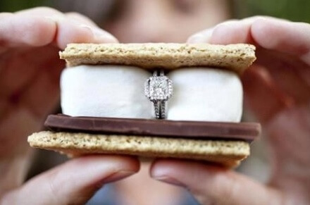 marry me ring in s'more campfire treat