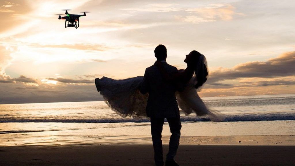 use of drone to capture your wedding event