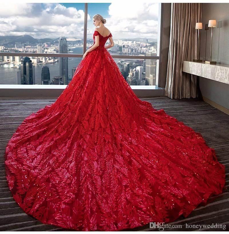 DHGates red weddings dresses