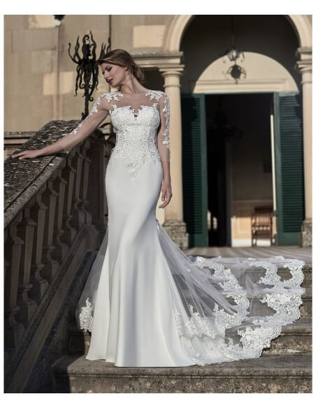 Venus-Bridal-VE8818N-Full-length-gown-lace-sleeves-layred-tulle-train-zipper-bac