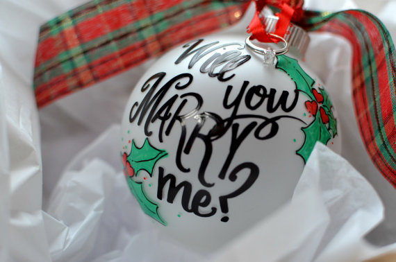 wedding-proposal Christmas ornament and the ring