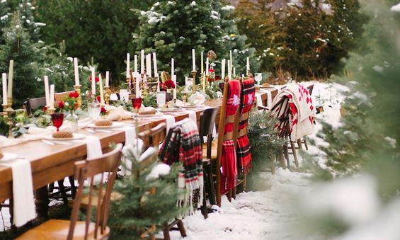 Christmas wedding setting