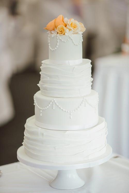 Tall, White Wedding Cake
