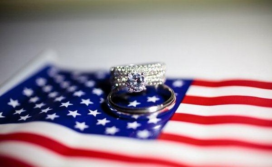 American flag with wedding bands