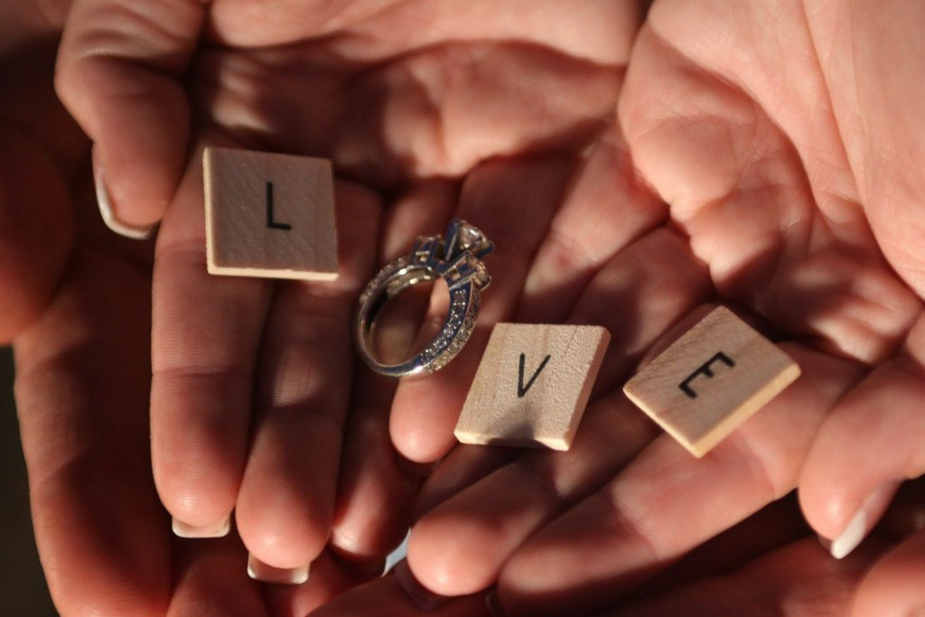 Wedding Proposal with Scrabble Letters and Diamond Ring
