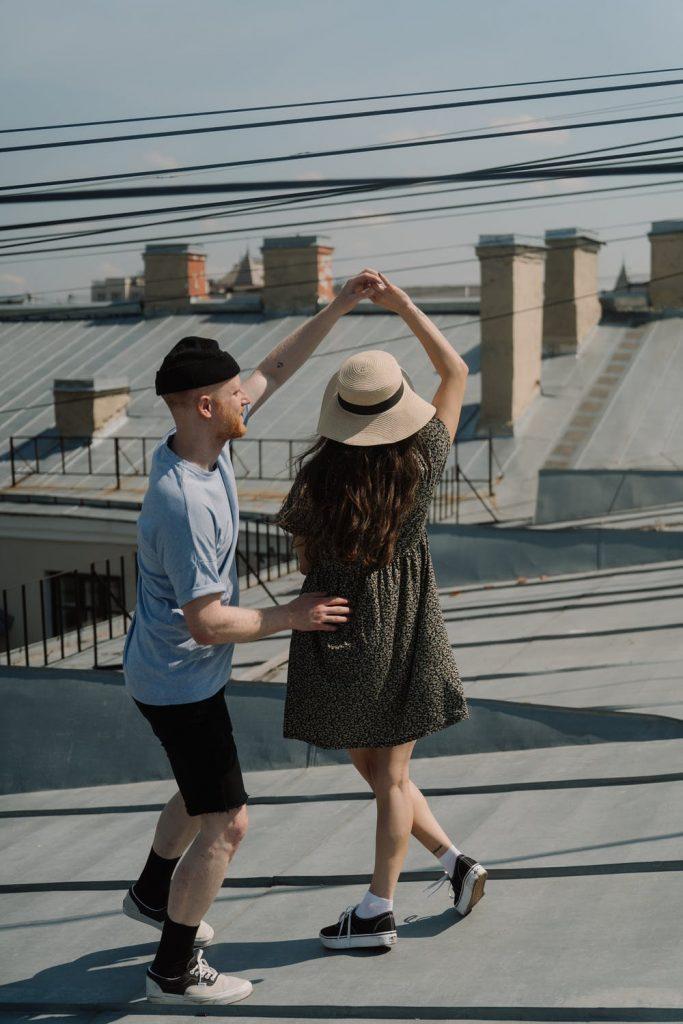 Wedding Proposal dancing on the Rooftop